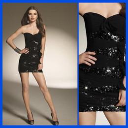 Wholesale Short Sheath Black Sweetheart Jeweled Bodice Mini Homecoming Dresses Party Dress
