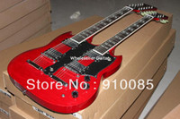 Solid Body 6 Strings Mahogany Led Zeppeli Page 1275 Double Neck, Signed Aged , red body 12 strings guitar Freeshipping
