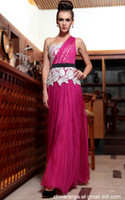 Wholesale under dollar cheap fast delivery falbala sleeveless one shouler deep pink long formal wear dresses for evening prom party