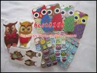 Wholesale Owl bird night eagle Hard plastic Case cartoon cute flower read book skin cover lovely fashion cases For iphone th G S