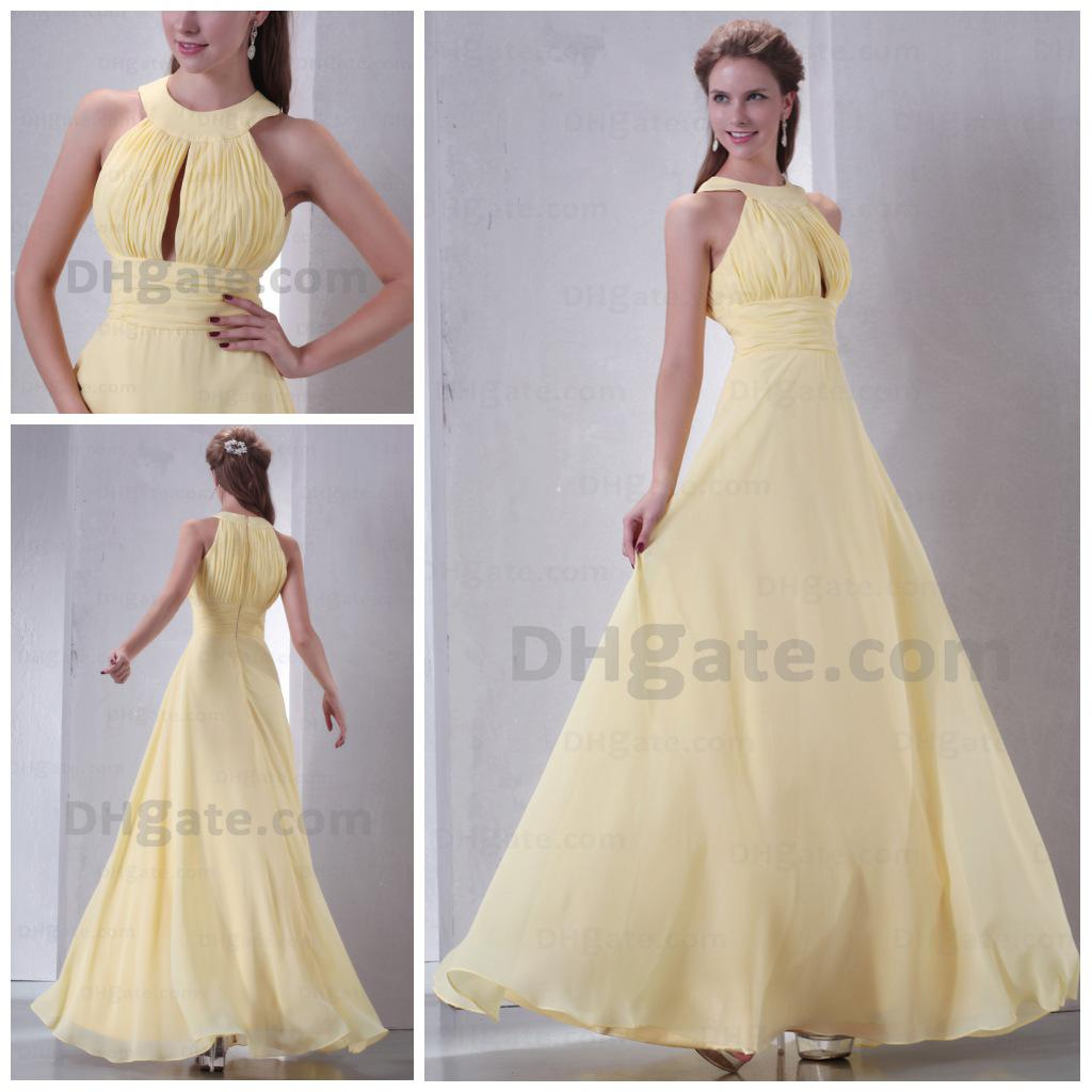 2015 Real Model Prom Dresses Long Yellow Chiffon Evening