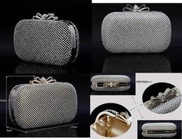 Handmade Perfect Women's Diamond Rhinestone Bow Satin Rhinestone clutch bags handbag purse evening bag banquet Bags