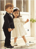 Wholesale Baby boys Gentleman Wedding Formal Party Tuxedo jacket shirt pants tie piece suits size T set dandys