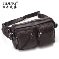 Wholesale High Quality Cattle male outdoor casual multifunctional handmade cowhide genuine leather anti theft big waist pack