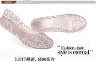 pvc sandals - Sandals summer breathable crystal plastic jelly cutout flat heel shoes female flat sandals