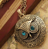 Wholesale Vintage Art Deco Style Bronze Owl Locket Necklace Blue Eye Round With Rhinestone Sweater Necklace Chain