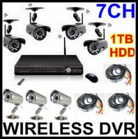 7CH Caméra sans Fil DVR Système H. 264 Sécurité CCTV Kits de Disque Dur de 1 to TOP Qualité DVR Enregistreur de 7 Caméras (4 sans Fil+3 par câble) Réseau