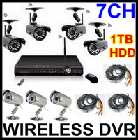 Wholesale 7CH Wireless Camera DVR System H CCTV Security Kits TB Hard Drive TOP Quality DVR Recorder Cameras Wireless wired Network