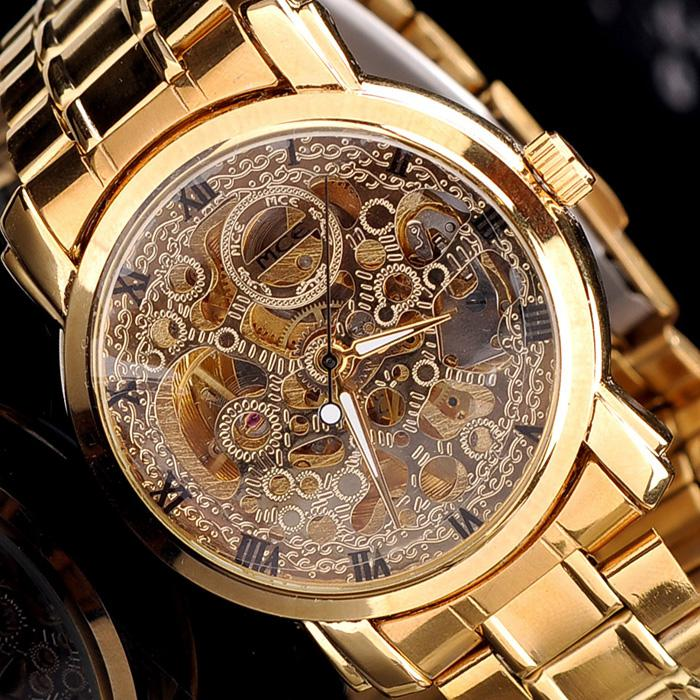 mens mechanical skeleton watch hand wind up gold dial mens watch mens mechanical skeleton watch hand wind up gold dial mens watch digital watches gold watch from kittyfang 15 08 dhgate com