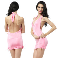 Wholesale Sexy Halter Clubwear Dresses For Womens Bodycon Stretch V Neck Backless Mini Dress Nightclub Pink Red White