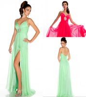 A-Line Floor-Length Reference Images ZPD-168 free shipping v neckline side slit chiffon spaghetti straps floor length prom dress gown