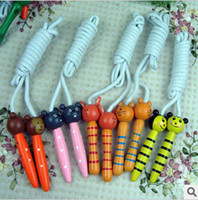 Wholesale Wooden Cartoon Rope Skipping Wooden toys Children s toy Girl Cartoon wooden colored wooden Kids skipping rope skipping children