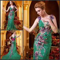 Wholesale 2014 Real Model Stunning Lace Sequins Sexy V neckling with Beautiful Floral Beaded Mermaid Evening Dresses Prom Dresses HK135
