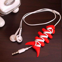 Wholesale 100pcs Tidy Cable Winder Headphone Cord Soft Silicone Rubber Fish Bone Earphone