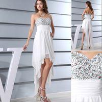 asymmetrical shorts - 2015 Summer Beach Wedding Dress Bridal Gowns Actual Image Sexy Sweet heart Short Sequins Beaded Crystals White Chiffon Cheap Short