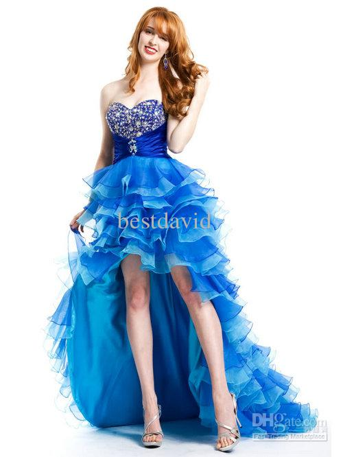 Short Front Long Back Pageant Prom Dress 2013 Organza Sweetheart ...