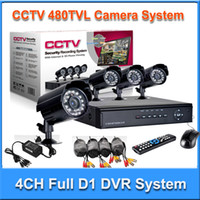 Wholesale 4CH H Full D1 Real Time Network CCTV DVR with Day amp Night IR Weatherproof bullet Camera