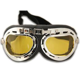 Amber Motorcycle goggle steampunk half helmet flight aviator eyewear glasses