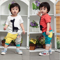 Wholesale Nice Boys Kids Clothes Cute Cartoon Set Short Sleeved Giraffe T Shirts Cool Color Chic Cropped Pants Fashion Adorable Color