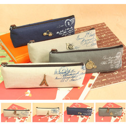 Wholesale NEW Vintage style Canvas Camera Tower motorcycle design pen bag Pencil case pouch