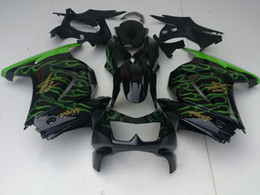 Wholesale Lime Green flames Kawasaki Ninja R EX250 body fairing kit windscreen