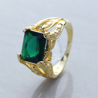 Wholesale Size Timeless Men s Big Emerald Crystal Stone K Yellow Gold Filled Ring