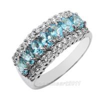 Celtic gold filled ring - Size Lady s Blue Aqumarine Gemstone KT White Gold Filled Ring Wedding Band Gift