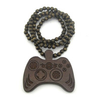 Unisex Party wood Wood Necklace Hip hop Brown Hand control Game Beaded Fashion rosary Factory price W130