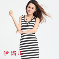 Wholesale New summer dresses women classic black and white striped vest thin milk silk Vest Slim Dress