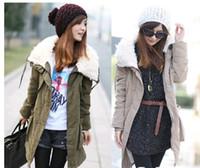 Women Cotton Bussiness / Work Casual Style Womens Thicken Fleece Warm Winter Coat Zip Up Hooded Parka Overcoat Long