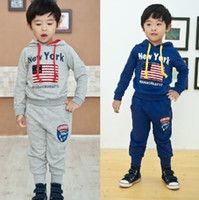 Wholesale boys tracksuits hoodies jackets sweatshirts new york hooded jumpers pants trousers children s clothing tops flag sets kids outfits L139
