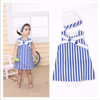 Wholesale 2013 Summer New Arrival Cute Years Baby Girl s Fashion Striped Sleeveless Dress Sets Children s Cotton Dark Blue Dress Lovely Caps