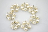 Wholesale Trail order Alloy Metal Buttons mm Pearls centre bling Button Flat Back