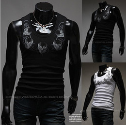 Wholesale 2013 men s t shirts men s White round neck Vest t shirt with a skull Self cultivation Elastic force design