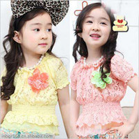 Wholesale 2013 Summer The Latest Korean Style Years Baby Girl s Short Sleeve T shirts Kid s Cotton Lace Triming Yarn Flowers Decoration Shirts