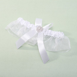Wholesale Unique design white organza color bows in stock Wedding bridal Garters Sexy Lace Garter Bridal Accessories