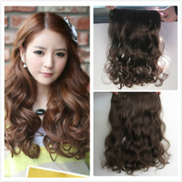 Wholesale 5pcs colors five clip in hair extensions curly synthetic hair pieces synthetic wigs for full head
