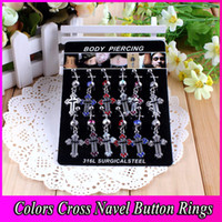 Stainless Steel belly button cards - Body Piercing Jewelry Stainless Steel Rhinestone Cross Pendant Belly Navel Button Rings OPP Card BR018
