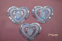 Wholesale Pretty heart shape Lace patch with shining sequin applique Crafts DIY Sewing