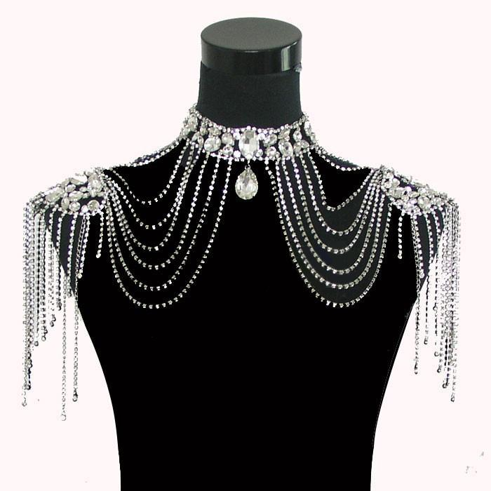 Elegant rhinestone shawl jewelry sets wedding dress bridal for Costume jewelry for evening gowns