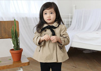 Girl Spring / Autumn Long Girl's Pop Autumn Winter Khaki Overcoat Doll Collar Long Sleeve Button Embellished Dust Coat + Polka Dot Triangle Outerwear 2pcs Set 8383