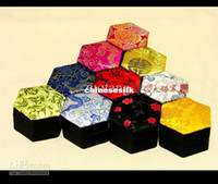 Wholesale Small Pendant Gift Boxes - Chinese Small Rustic Beautiful Ring Gift Box Silk Brocade Cardboard Jewelry Packaging Boxes Earring Pendant Storage Box Case 10pcs   lots