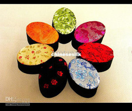 Oval Floral Craft Small Gift Box for Jewelry Storage Case Decorative Silk Brocade Cardboard Ring Earring Pendant Boxes Wholesale