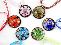 Wholesale 2013 Retro Fashion Lampwork Round Shaped D Flower Gold Dust Murano Glass pendant necklace Handmade Jewelry Mix Color BS011