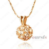 Bohemian ball chain swarovski crystals - Fanshion K Rose Gold Planted Use Swarovski Crystal Ball Charms Pendant Fashion Necklace for young women