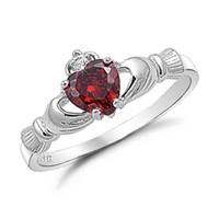 Wholesale Size Claddagh Heart Love Lady s KT Gold Filled Red Garnet Ring