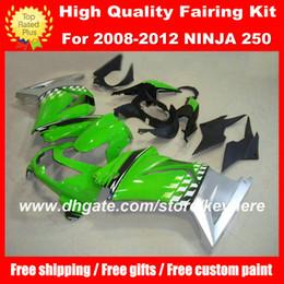Custom race fairing kit for Kawasak Ninja 250R 2008 2009 2010 Ninja ZX250R 08 09 10 11 12 G3a motorcycle fairings green silver aftermarket