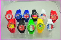 Wholesale 10pcs New Sport Style Rubber Candy Jelly Fashion Men Women No Logo Silicone Quartz Flag Face Watches Mix Colors Avaliable