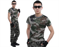 Wholesale Outdoor Clothing T shirts Summer Style Round Collar Camouflage T Shirt Military Cotton Unsex Military Training Short Sleeves T shirt Men