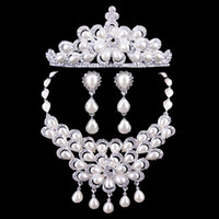 Wholesale Silver Alloy Pearl Crown Wedding Tiara Necklace and Earrings Set Bridal Jewelry Sets CN042